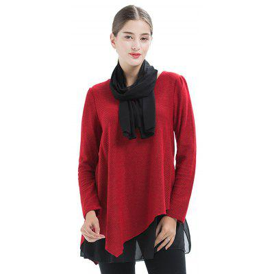 Large Size Women's Stitching Loose Casual Knit Round Neck Long-Sleeved T-Shirt