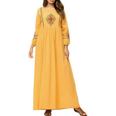 Fashion New Embroidered Yellow Long-Sleeved Pleated Maxi Dress