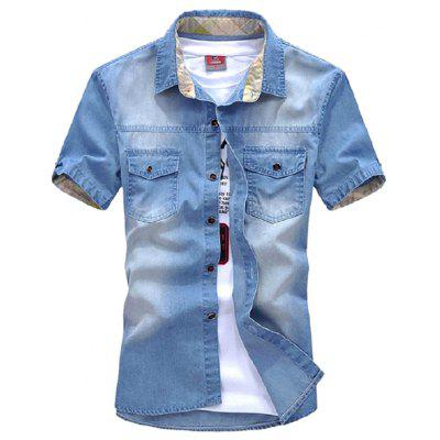 New Mens Jeans Casual Short Sleeves Wash-Denim Shirts WT75