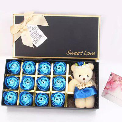 12 gradient Rose Scented with Little Bear Doll in Gift Box for Valentine is Day