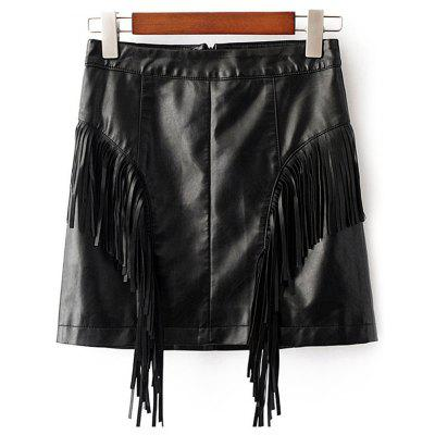 Black Fringed Short Leather Skirt