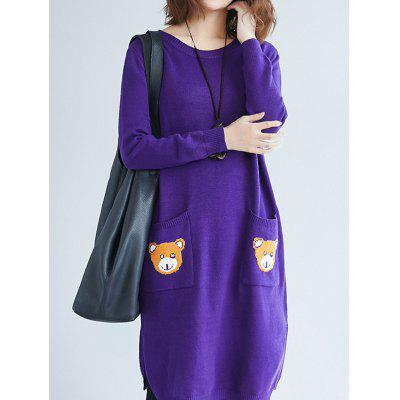 Long Sweater with Round Collar and Casual Style