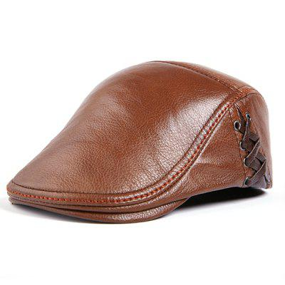 Autumn and Winter Cowhide Men's Gentleman Aristocratic Style Peaked Cap
