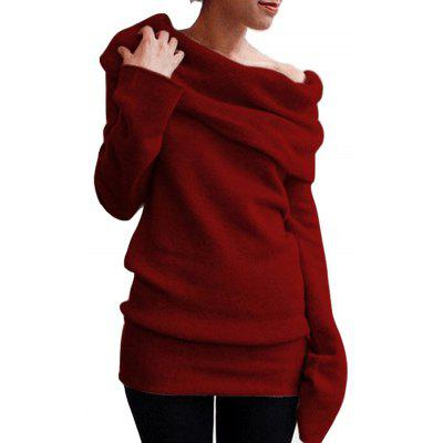 Women Solid Color Off The Shoulder Fashion Casual Sweater