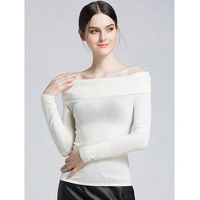 A Word Sweater Women Sexy Female Strapless Tight Knit Tops