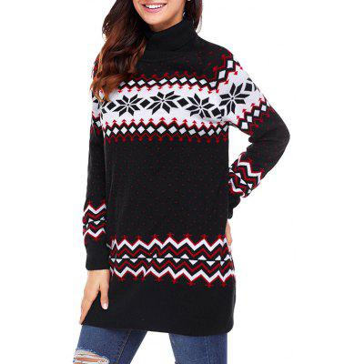 Christmas Snowflake Patterned Tunic Turtleneck Sweater