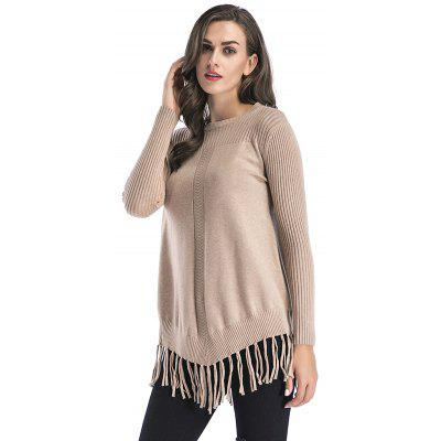 Women Solid Color Knitted Round Neck Long Sleeved Tassel Sweater Coat