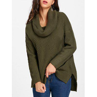 Dropped Shoulder Slit Cowl Neck Sweater