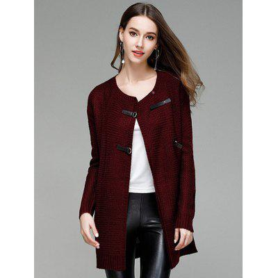 Large Size Solid Color PU Buttons Long Knitted Cardigan Sweater