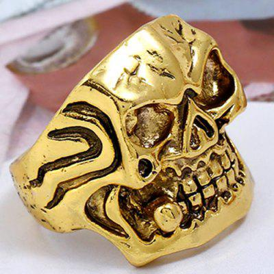 Square Face Skull Carved Vintage Biker Ring
