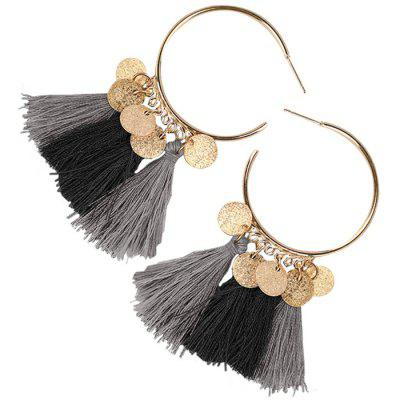 Circle Disc Tassel Hoop Drop Earrings