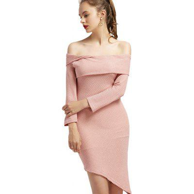 Off The Shoulder Plain Knitted Dress