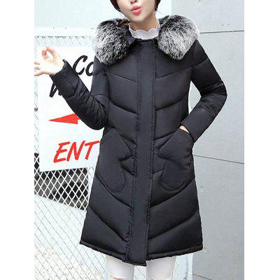 Heap Women Winter Jacket Thickness Warm Parka Hooded Large Fur Collar Female Pad