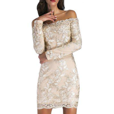Elegant and Stylish Long-Sleeved Collar Strapless Sexy Nightclub Dress