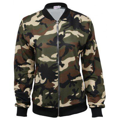 Camouflage Zipper Baseball Jacket