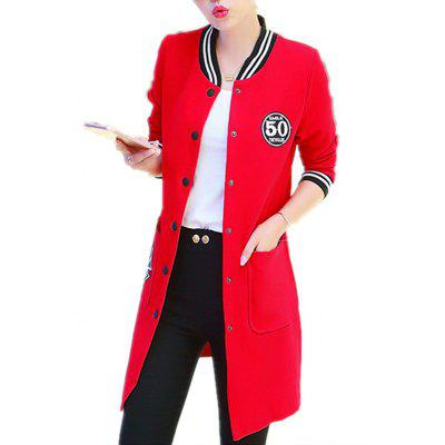Women's Trench Coat Applique Single Breasted Plus Size Bomber Jacket