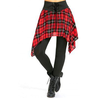 Asymmetric Plaid Lace Up Skirted Leggings