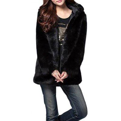Faux Fur Coat Women White Long Sleeve Hooded Winter Overcoat