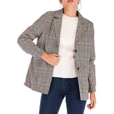 Women's Plaid Casual Suit Collar Long Sleeve Jacket