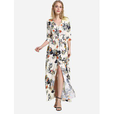 Meia Manga Floral Imprimir V Neck Dress