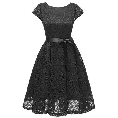 Ladies Temperament Slim Sweet Solid Color Gown Party Bridesmaid Lace Dress