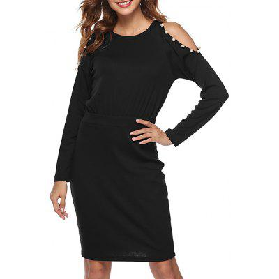 Women Solid Color Round Neck Off Shoulder Beaded Long Sleeve Slim Bodycon Dress