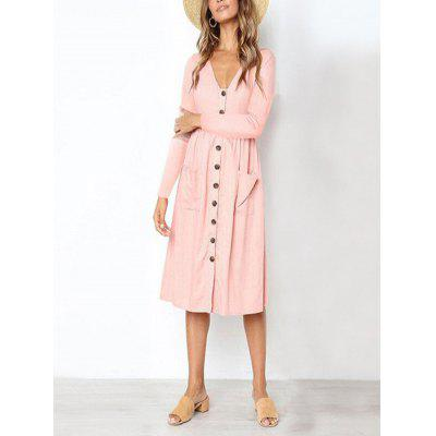 Women'S Fashion V-Neck Button Versatile Pocket Long Sleeve Dress