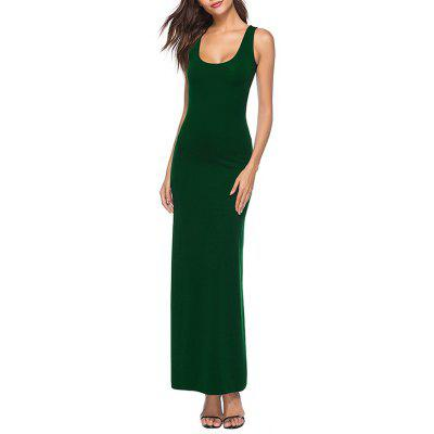 Women'S Summer Tank Sleeveless Long Dress Solid Color Casual Tunic Maxi Dress
