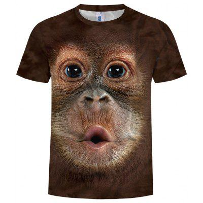 Summer Fashion 3D Monkey Singing Illustration Print Men's Round Neck T-shirt
