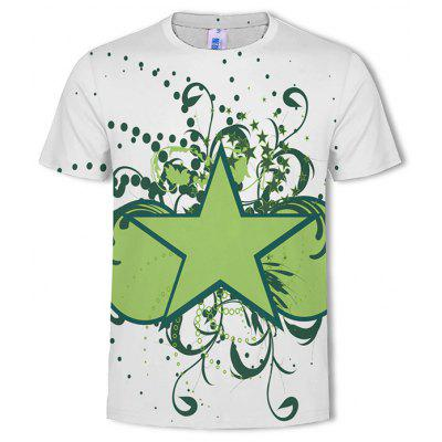 3D Fashion Men's Printed Five-Pointed Star T-Shirt