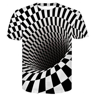 3D Space Comic Print Men'S Casual Short Sleeve Graphic T-Shirt