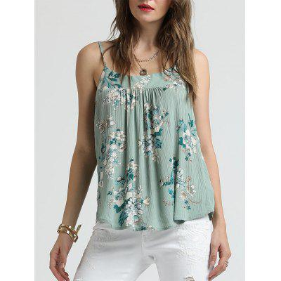 SBETRO Floral Print Pleated Tank Top Female Chiffon