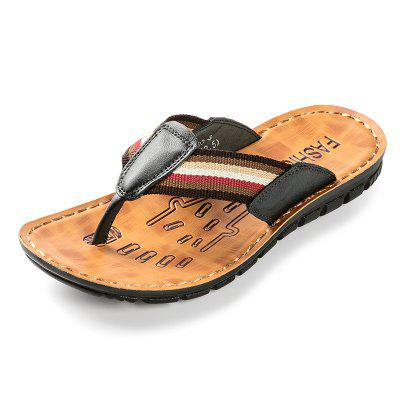 Male Chic Leather Anti-slip Flip-flops Slippers