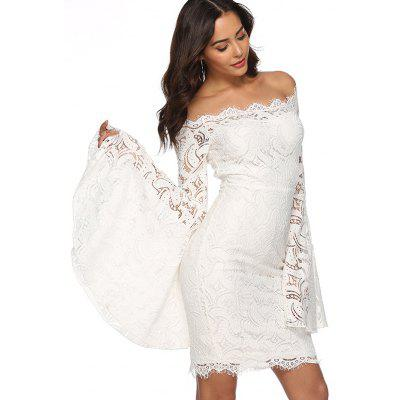 Women's Off Shoulder Flare Sleeve Lace Slim Bodycon Party Wedding White Dress