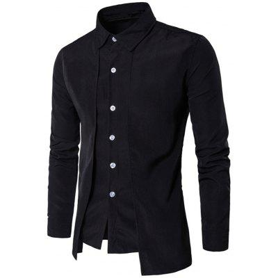 Men's Fake Two Pieces Long Sleeve Slim Fit Button Down Shirt