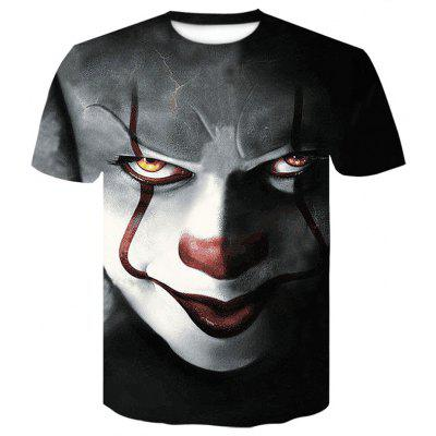 Men's  Summer Short Sleeve Digital Print  Clown T-Shirt