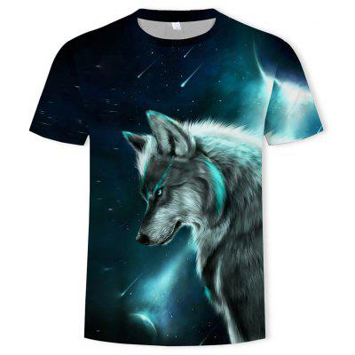 Fashion 3D Stereo Personality Men's Short-Sleeved Blue Eye Wolf Figure T-shirt