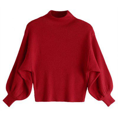 Mock Neck Lantern Sleeve Sweater