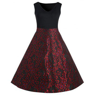 Plus Size Paisley Midi 1950 Vintage Dress