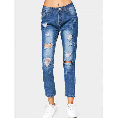 High Waisted Ripped Cropped Jeans