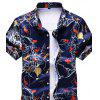 Men's  Summer Fashion Casual Personality Pattern Large Size Shirt - DEEP BLUE