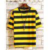 Men'S Fashion Casual Striped Cotton Short Sleeve T-Shirt - YELLOW