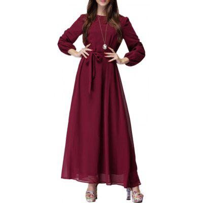Elegant Long Sleeve Bowknot Waistband Chiffon Dress