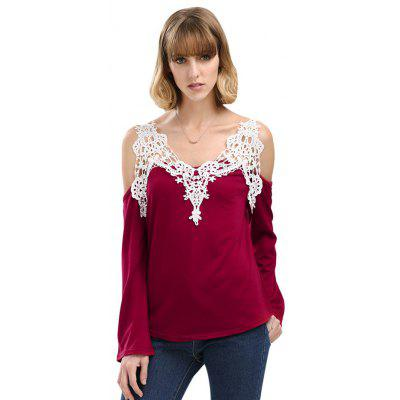 Sexy V-Neck Flare Sleeve Cut Out Lacework Deisgn Spliced ​​Women T-Shirt