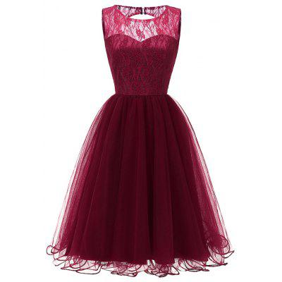 Ladies Evening Party Temperament Slim Sweet Solid Color Lace  Prom Dres
