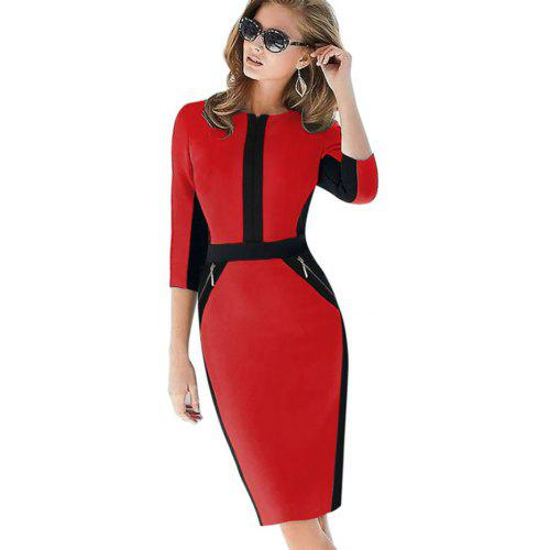 7895b8fb28e Women Contrast Color Half Sleeve Pencil Dress