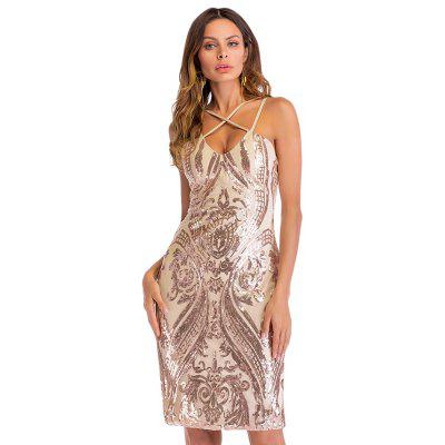 Sexy Plunge Neck Backless Schlitz Pailletten Frauen, figurbetontes Kleid