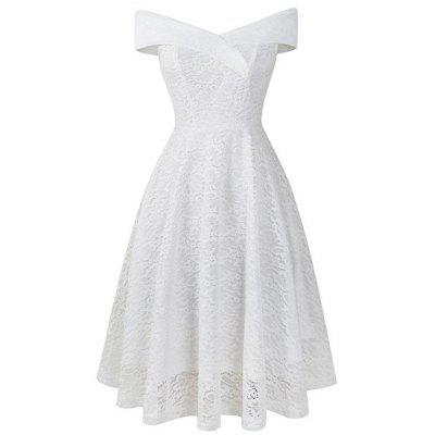 Ladies Front And Back V-Neck Lace Dress