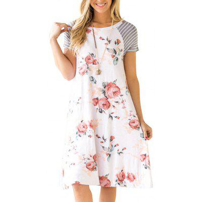 Womens Floral T Shirt Dresses Casual Striped Short Sleeve A-line Loose Shift Dre