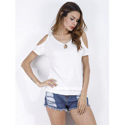 Beaded Leisure Loose Round collar Short Sleeves Dew Shoulder  T-shirt